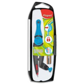 MAPED Compas Stop and Safe à bague + 1 crayon mini Black'Peps assortis Bleu, Orange ou Rose photo du produit