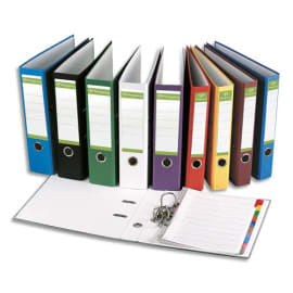 PERGAMY Classeur à levier en papier recyclé intérieur/extérieur. Dos 5cm. Format A4. Coloris Rouge photo du produit