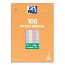 OXFORD Boîte distributrice 100 fiches bristol non perforées 105x148mm (A6) 5x5 assorti photo du produit
