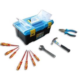 SAFETOOL Malette outils plastique, 10 outils inclus : pince coupante, marteau, clé à molette, 7 tournevis photo du produit