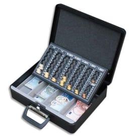 PAVO Caisse monnaie+billet Europa livrée 2 clés-L36,5xH11,5xP28 cm Gris foncé, 2 poignées basse+couvercle photo du produit