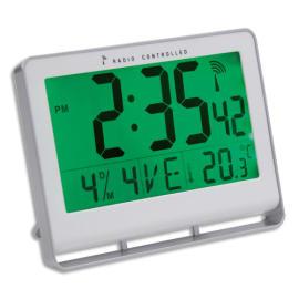 ALBA Horloge murale LCD multifonction radio-pilotée livrée 2 piles AAA fournies en ABS L20 x H15 cm Blanc photo du produit