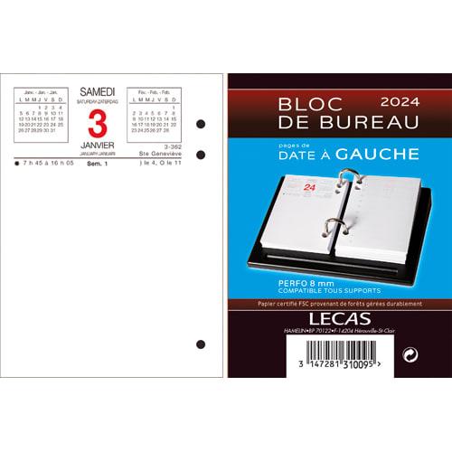 LECAS Bloc éphéméride Date à gauche, 1 jour par page + note à Droite, format 8,5 x 11,5 cm photo du produit Principale L