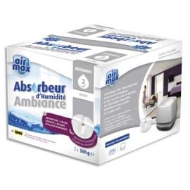AIR MAX Boîte de 2 Recharges de 500g pour absorbeur d'humidité 48160 - L11,5 x H9,5 x P11,1 cm Blanc photo du produit