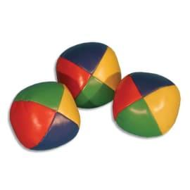 FIRST LOISIRS Lot de 12 Balles à grains de jonglage + explications, en cuir PU cousu, diamètre 6 cm photo du produit