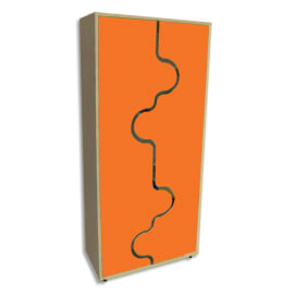 MOBEDUC Armoire haute L80 x H180 X P40 cm, 4 tablettes, portes vague couleur Orange photo du produit