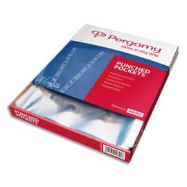 PERGAMY Boîte 100 pochettes perforées polypropylène grainé 12/100ème format A4. Coloris incolore photo du produit