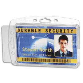 DURABLE Boîte 10 Porte-badges fermé pour 2 cartes format portrait ou paysage - L85 x H54 mm - Transparent photo du produit