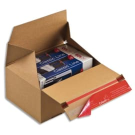 COLOMPAC Carton d'expédition Eurobox S Brun simple cannelure, fermeture adhésive L19,5 x H9 x P14,5 cm photo du produit