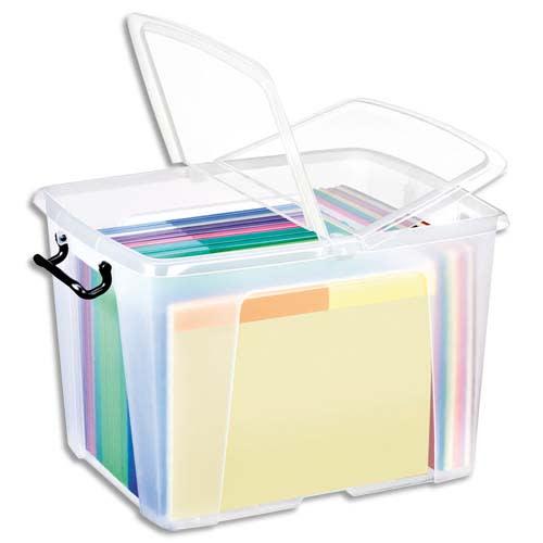 CEP Boîte de rangement Smart Box Strata avec couvercle clipsé dims int.30,3x38,9x30,4cm transparent 40L photo du produit Principale L