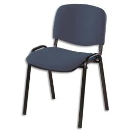 Chaise de conférence Iso Classic en tissu polyfibre Gris anthracite, structure 4 pieds métal époxy Noir photo du produit