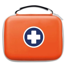 LABORATOIRES ESCULAPE Trousse de secours Orange, 2 compartiments intérieur transparent, pour 10 personnes photo du produit