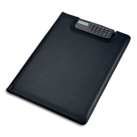 JUSCHA Conférencier Noir Brescia imitation cuir. 33x25x2cm. Avec porte-bloc, calculette clip et pochettes photo du produit