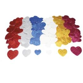 SODERTEX Pack de 200 Cœurs mousse EVA pailletée adhésive 6 Assortis, 4 tailles D1,5/2/3/4 cm, épais 2 mm photo du produit