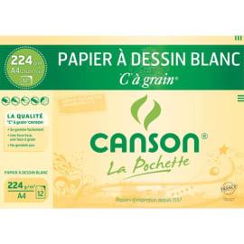 CANSON Pochette 12 feuilles papier dessin Blanc CàGrain 224g format 21x29,7cm photo du produit