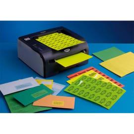 Boîte de 1400 Etiquettes adhésives couleur Bleu - Format : 99 x 38,1 mm. Planche A4 photo du produit