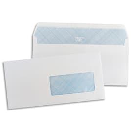 PERGAMY Boîte de 500 enveloppes Blanches 75g DL 110X220 mm fenêtre 45x100 mm auto-adhésives photo du produit