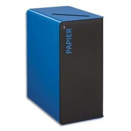 ROSSIGNOL Borne de tri Cubatri 65 Litres avec serrure en acier poudré Gris Bleu ciel L38 x H76 x P62 cm photo du produit