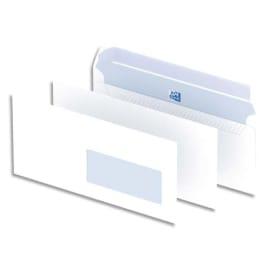 OXFORD Boîte de 500 enveloppes Blanches auto-adhésives 90g format DL 110x220 mm avec fenêtre 35x100 mm photo du produit
