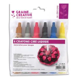 GRAINE CREATIVE 6 crayons de cire liquide 30ml pour décoration de bougie Noir Jaune Rouge Bleu or argent photo du produit