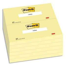 POST-IT Bloc repositionnable de 100 feuilles 76 x 127 mm Jaune 655E photo du produit