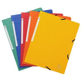 EXACOMPTA Chemise simple à élastique. Carte lustrée 5/10e. Coloris assortis Rouge/vert/Jaune/Bleu/Orange photo du produit