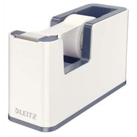 LEITZ Dévidoir Dual Blanc Gris métallisé livré avec ruban adhésif transparent L5,1 x H7,6 x P12,6 cm photo du produit