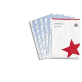 PERGAMY Boîte de 100 pochettes perforées en polypropylène 9/100e lisse, perforation 11 trous photo du produit