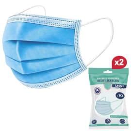 EPI Pack de 10 masques barrières lavables 10 fois,UNS1 anti-projection,filtre > à 90%+1 pack de 10 offert photo du produit