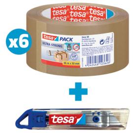 TESA Lot de 6 rouleaux emballage PVC 65 microns 57177 + 1 Cutter bleu tesa en ABS offert photo du produit