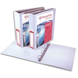 PERGAMY Classeur personnalisable A4+ 3 faces, 4 anneaux Ø20 mm en D, dos 3,8 cm. En PP Blanc.150 feuilles photo du produit