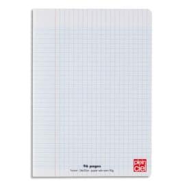 PLEIN CIEL Cahier piqûre 24x32cm 96 pages grands carreaux Séyès 90g. Couverture polypro incolore photo du produit