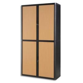 PAPERFLOW EasyOffice armoire démontable corps en PS teinté Noir Hêtre - Dimensions L110xH204xP41,5 cm photo du produit