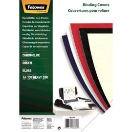 FELLOWES Boîte de 100 plats de couvertures chromolux A4 Vert 5378403 photo du produit