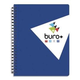 BURO PLUS Cahier spirale 21x32cm 160 pages perforées petits carreaux 80g. Couverture rembordée épaisse photo du produit