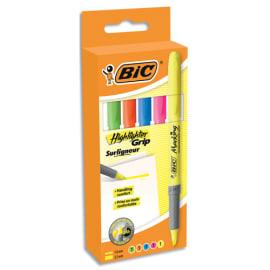 BIC Pochette de 5 surligneurs assortis Brirteliner Grip photo du produit