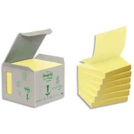 POST-IT Tour de 6 blocs de Z-notes 100% recyclées Jaunes 76X76mm - Bloc de 100 feuilles photo du produit