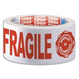 TESA Adhésif d'emballage en PP Blanc imprimé Rouge Fragile silencieux 48 microns - H50 mm x L66 mètres photo du produit