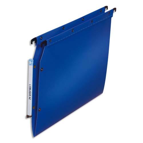 OBLIQUE AZ Paquet de 10 dossiers suspendus ARMOIRE en polypro opaque 5/10e. Fond V, bouton-pression. Bleu photo du produit Principale L