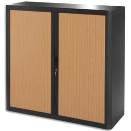 PAPERFLOW EasyOffice armoire démontable corps en PS teinté Noir Hêtre - Dimensions L110xH104xP41,5 cm photo du produit