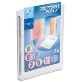 VIQUEL Classeur personnalisable PROFYSOFT PP 4/10e, dos 2,5 cm, incolore, 4 anneaux ronds photo du produit