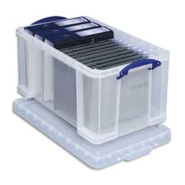 REALY USEFUL BOX Boîte de rangement 48L + couvercle, Dimensions L60 x H31 x P40 cm coloris transparent photo du produit