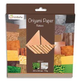 AVENUE MANDARINE Paquets de 60 feuilles d'origami imprimées 20*20 cm sur le thème de la nature. photo du produit