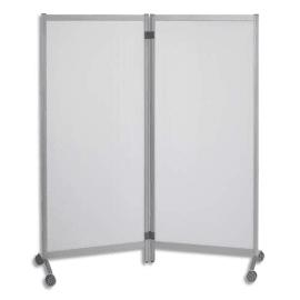 PAPERFLOW Lot de 2 Cloisons mobiles sur roulettes aluminium, panneau polypro transparent L76xH170xP44 cm photo du produit