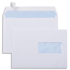 Boîte de 500 enveloppes Blanches 80g C5 162x229 mm fenêtre 45x100 mm auto-adhésives photo du produit