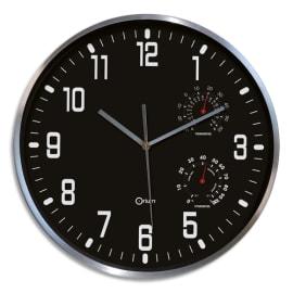 ORIUM Horloge Thermo-Hygro à cadran Noir chiffres Blancs, en aluminuim, Quartz sweep, D30 cm x P5 cm photo du produit