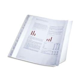 LEITZ Sachet 10 pochettes perforées rabat latéral transparent. Capacité 40 feuilles, perforation 11 trous photo du produit