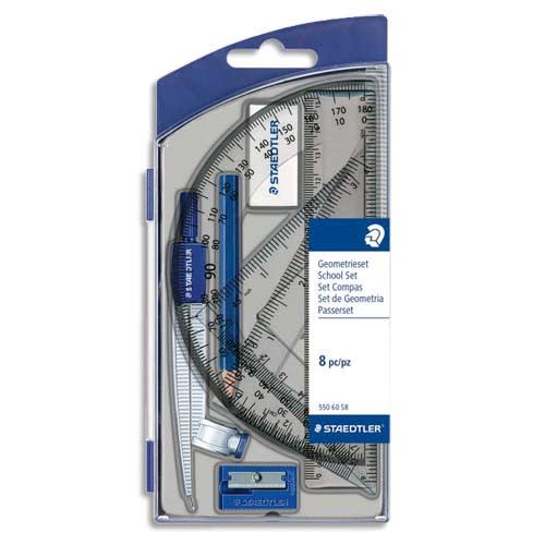 STAEDTLER Set scolaire 1 compas de précision avec attache-compas universelle intégrée + accessoires photo du produit Principale L