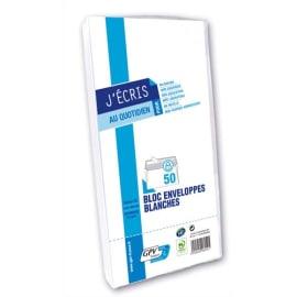 GPV Paquet de 50 enveloppes Blanches auto-adhésives 75 grammes format 110x220mm fenetre 45x100 réf 6259 photo du produit