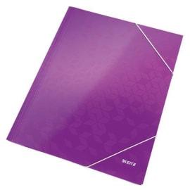 LEITZ Chemise WOW 3 rabats à élastiques, en carte pelliculée, coloris violet photo du produit
